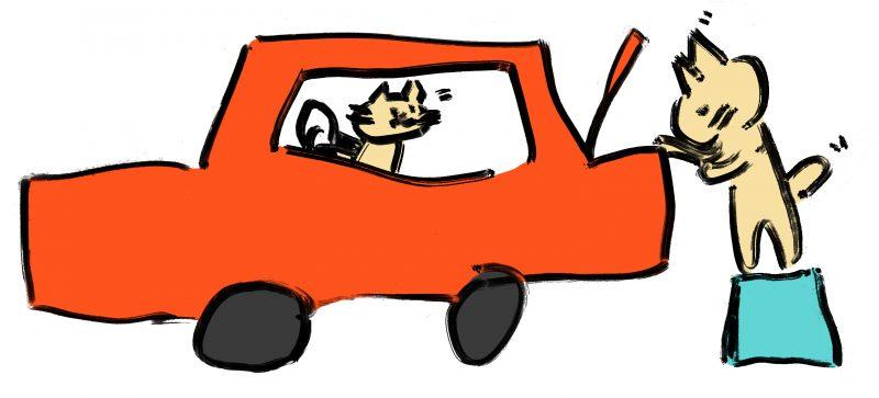 車と猫のイラスト