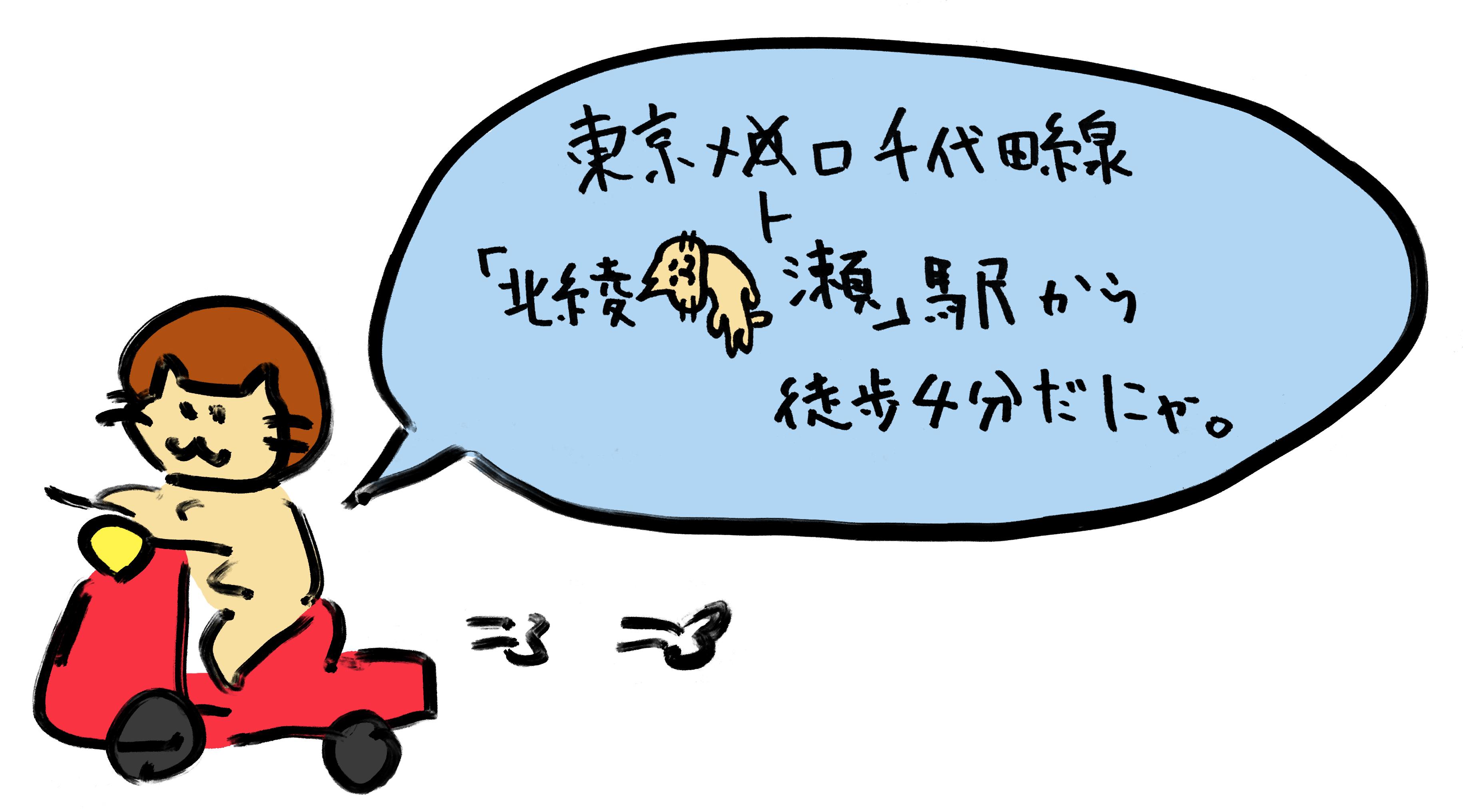 東京メトロ千代田線「北綾瀬駅」から徒歩4分だにゃ。