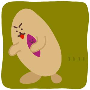 お芋を抱えている生物のイラスト