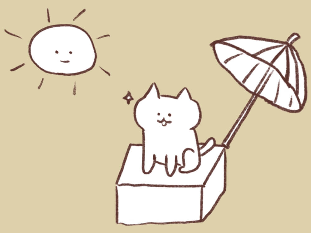 日光浴をしている猫のイラスト
