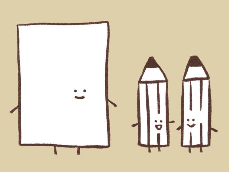検査用紙と鉛筆たちのイラスト
